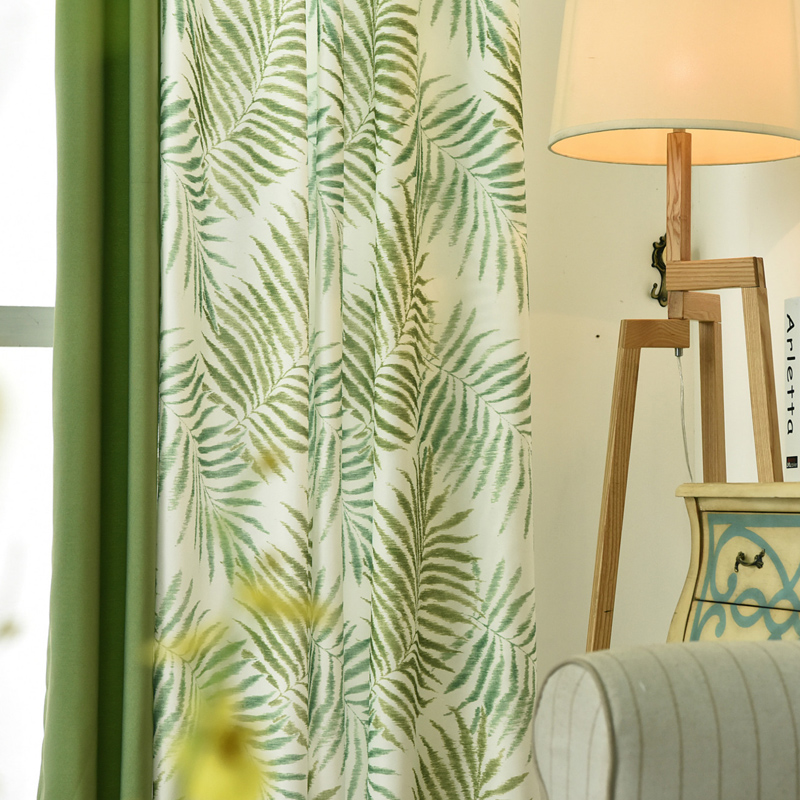Tropical Plam/Fern Leaf Green Blackout Curtains For Living Room Bedroom Window Door Kitchen Home Decorative Curtains Drapes