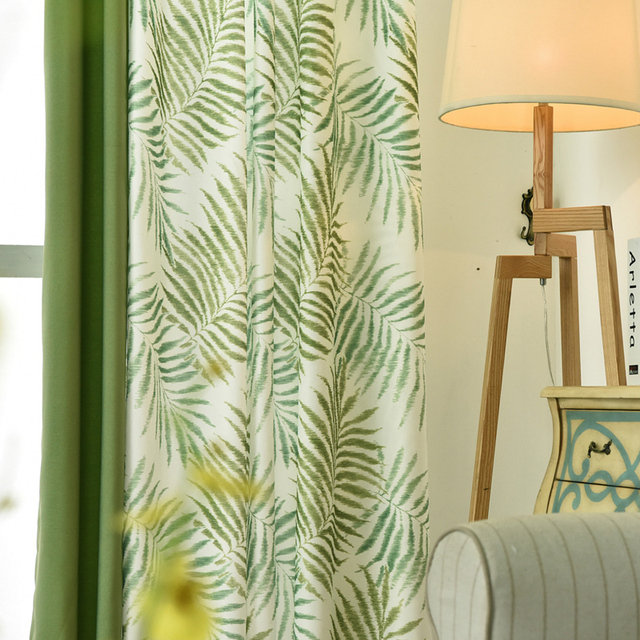 Tropical Plam Fern Leaf Green Blackout Curtains For Living