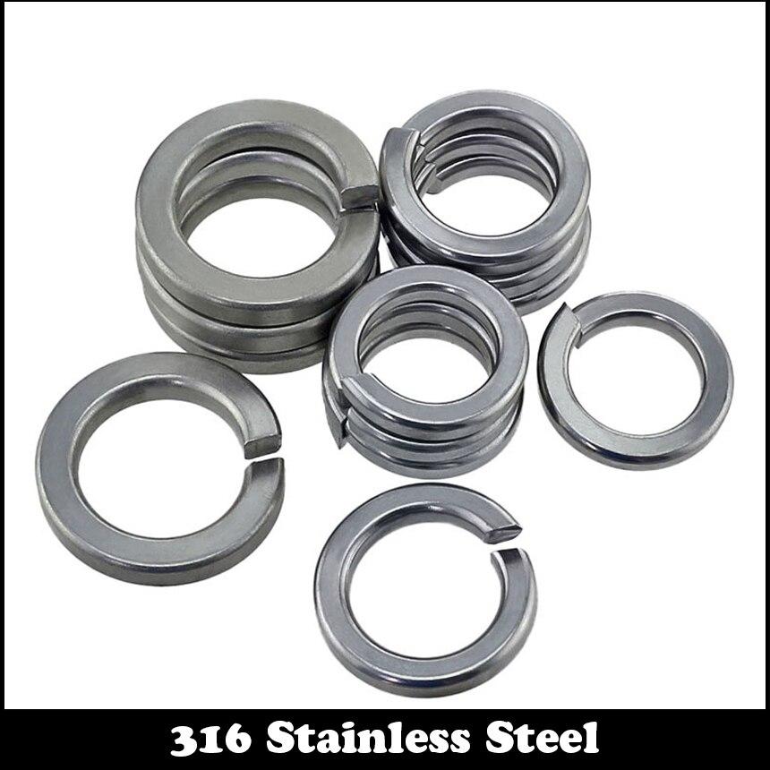 M2 M2.5 M3 M4 M5 M6 M8 M10 316 Stainless Steel 316SS DIN127 GB93 Square End Gasket Ring Cushion Split Lock Spring Washer