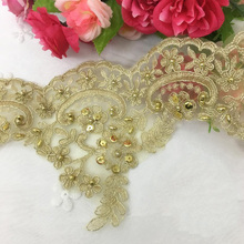 2/15Yards Gold Lace Trim Beaded Applique Sequin Paillette DIY Sewing Accessories High End 15cm Trimmings For