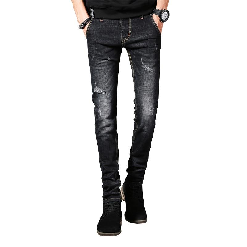Men Jeans Business Casual Thin Straight Slim Jeans Stretch Denim Pants Trousers Classic Cowboys Young Man 2017 new designer korea men s jeans slim fit classic denim jeans pants straight trousers leg blue big size 30 34