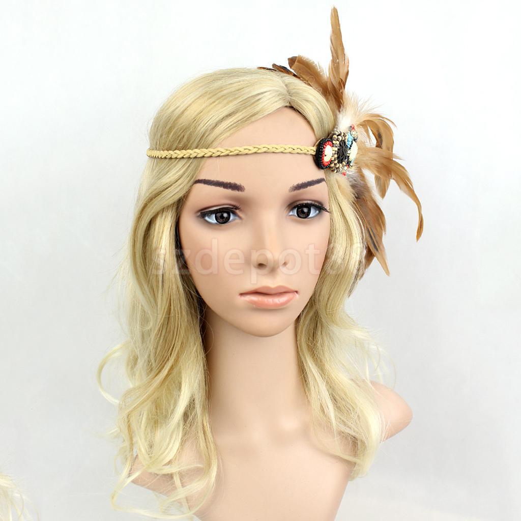 7a5dc29d350953 Festival American Indian Gypsy Perlen Geflochtene Feder Stirnband Boho Hippie  Stirnband Kopfschmuck Frauen Haar Zubehör in Festival American Indian Gypsy  ...