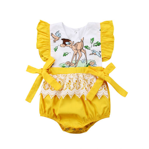 2018 New Newborn Kids Baby Girls Fairy Lace  Romper Jumpsuit Outfit Clothes 0-24M