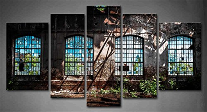 Wall Art Picture Canvas Paintings Home Decor Abandoned Industrial Interior  With 5 Panels Bright Light Ruin Window Plant No Frame In Painting U0026  Calligraphy ...
