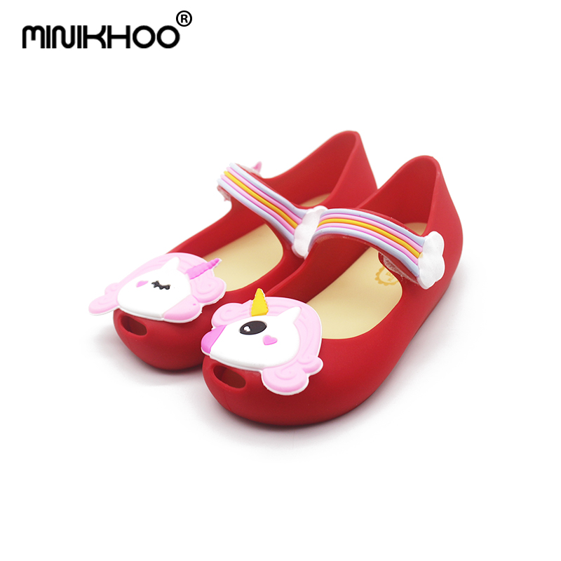 Mini Melissa Brands Unicorn Girl Jelly Sandals 2018 Summer New Baby Shoes Melissa Unicorn Shoes Girls Princess High Quality