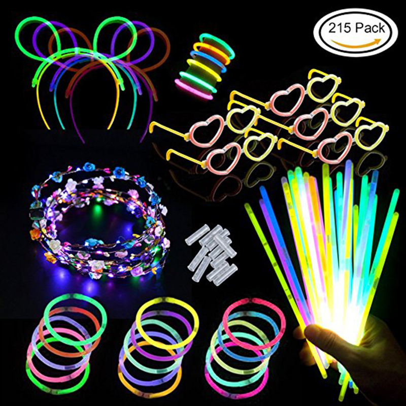 Glow Sticks Favors For Kids/Adults 7 Colors For Glow Necklace/ Flower/Luminous /Heart/Glasses Birthday Halloween Gift