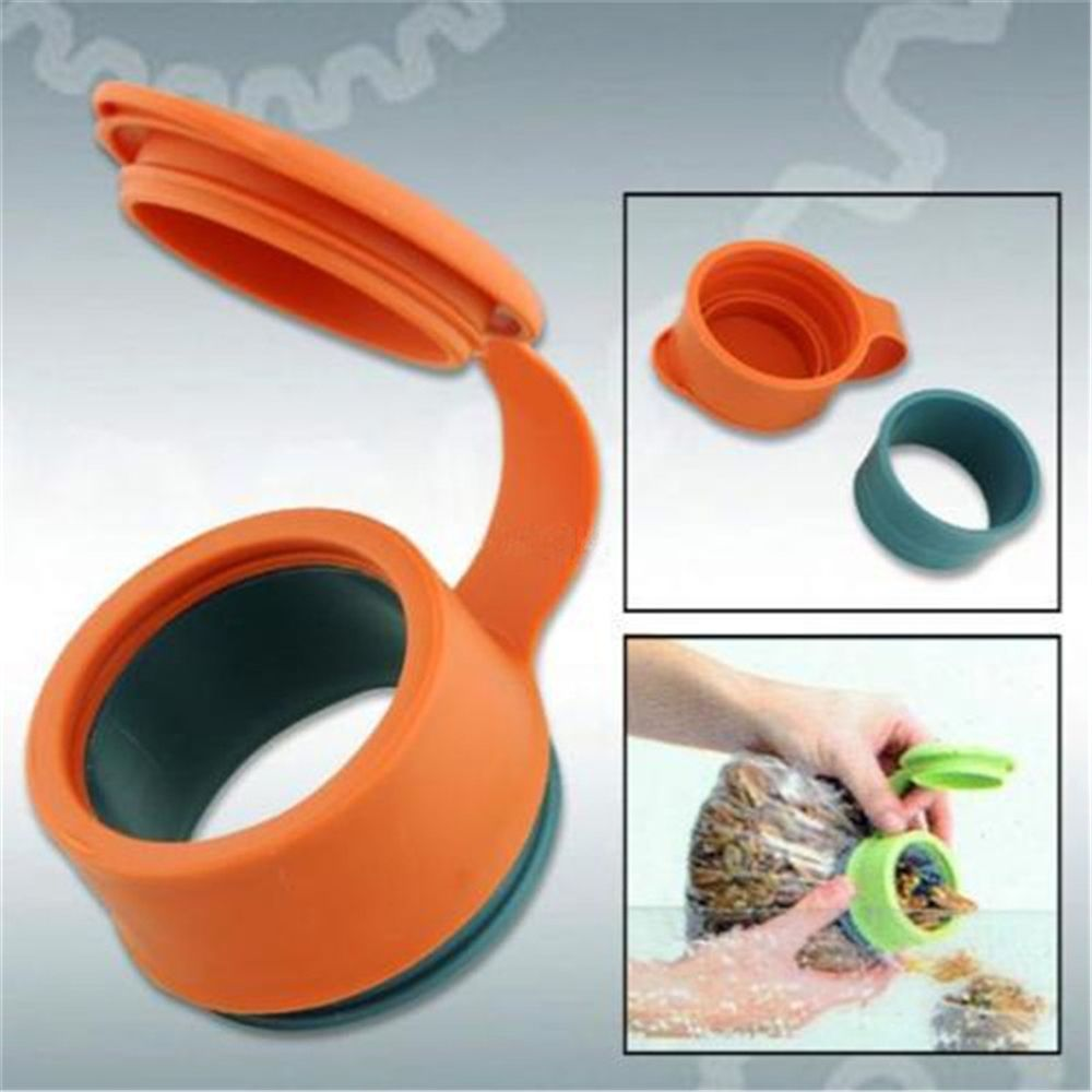 Hot Plastic Multifunctional Magic Cover Bag Orange Food Kitchen Storage Preserve Sealing Bag Cap Household Tool
