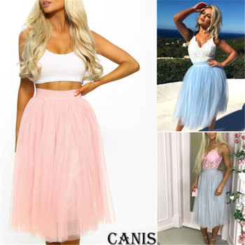 f8b9d2886 2019 verano Boho tul falda gris azul Rosa faldas largas plisadas mujer  elegante falda hasta la rodilla faldas jupe femme saia spodnica