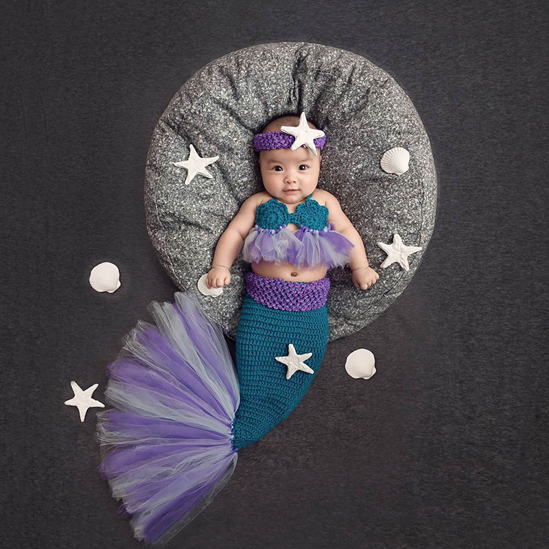 2018new Baby Girl Knitted Mermaid Costumes Tutu Mesh Lace Mermaid Tail Clothing Newborn Bebe Photography Props Starfish Headband