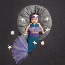 Вязаные костюмы Русалочки для маленьких девочек, сетчатая кружевная пачка с хвостом русалки, реквизит для фотосъемки новорожденных, повязк...