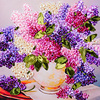 50X45cm Romantic 3d Print Ribbon Embroidery Painting Cross Stitch Kit DIY Needlework Unfinished Craft Gift Wall
