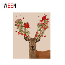 WEEN Deer Bird Diy Painting By Numbers Animal Flower Oil On Canvas Cuadros Decoracion Acrylic Wall Art Home Decor Gift