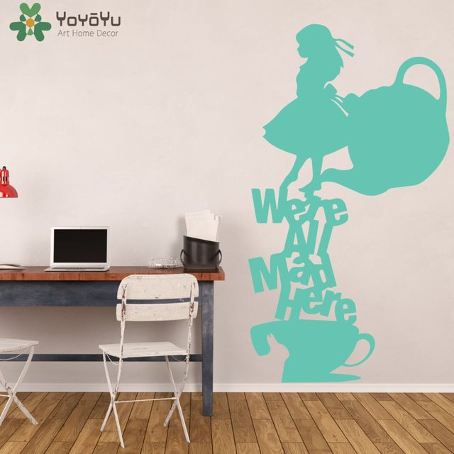 Superieur Alice In Wonderland Wall Stickers For Kids Rooms Tea Party Wall Decal  Teapot Pattern Were All Bad Here Nursery Quote Decor SY410