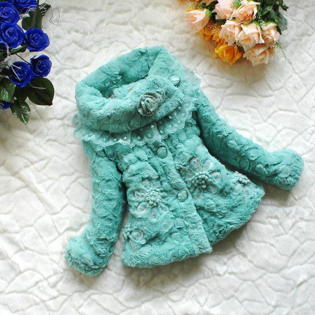 Crianças casaco de inverno casaco menina 2015 Meninas novas jaqueta de algodão grosso casaco de inverno casaco meninas princesa imitação de pele 3 cores