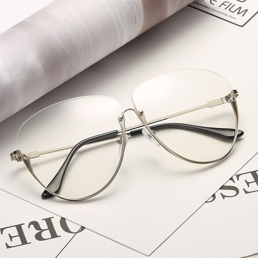 Rimless Cat Eye Women Sunglasses Transparent Fashion Brand Designer Sunglasses Lady Clearly Large Metal Frame UV400 14