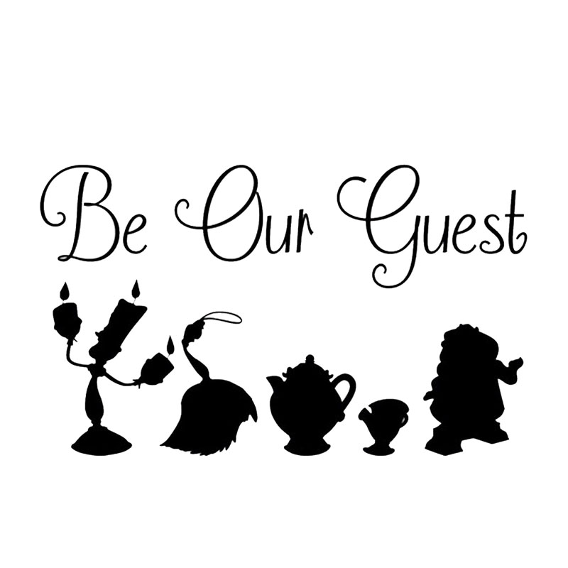 13 4X8CM BEAUTY AND THE BEAST BE OUR GUEST Interesting Car styling Motorcycle Car Sticker S8