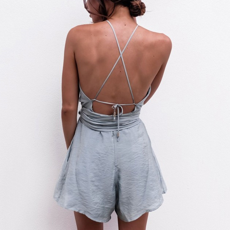 GAOKE Camis Backless Playsuit Cut Out Sexy Bodysuit Women Shorts Boho Jumpsuit vestido Sash Tie Halter Beach Resort Romper