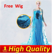High quality snow cosplay dress elsa princess costumes for adults free with wig
