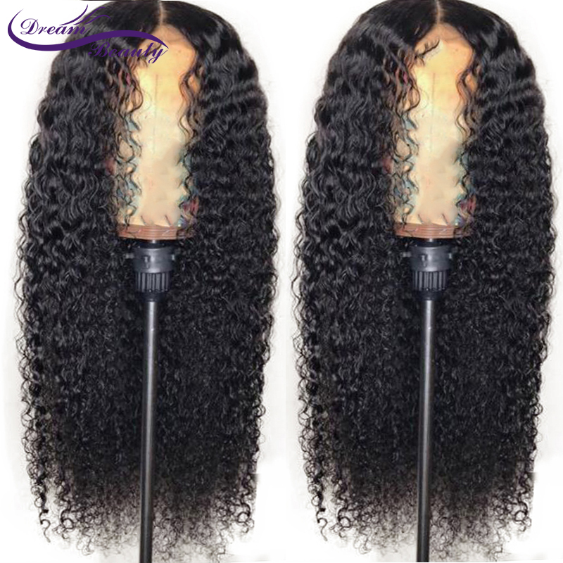 Dream Beauty Curly Full Lace Human Hair Wigs Pre Plucked Natural Hairline Brazilian Remy Hair Lace Wig Bleached Knots