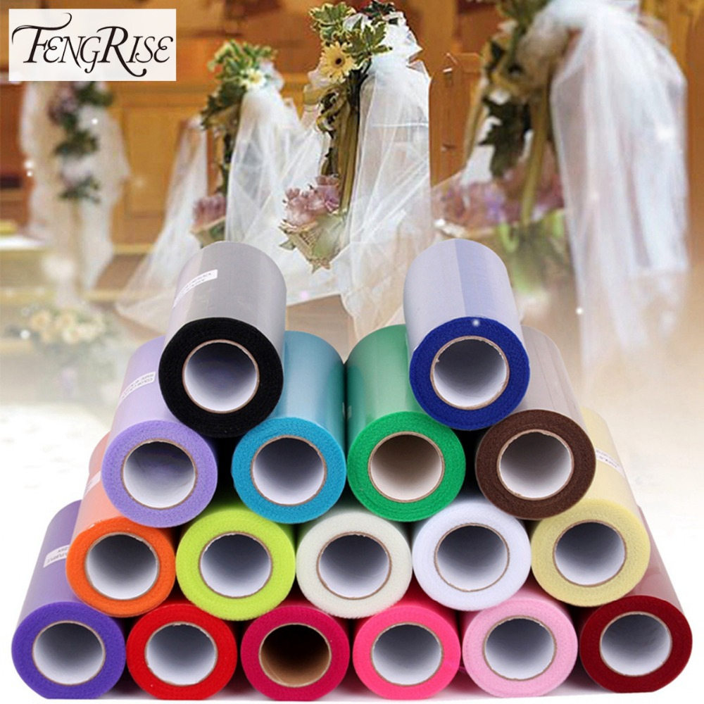FENGRISE 15cm 25 Yards DIY Tulle Roll Spool Tutu Apparel Sömnad Fabric Party Gift Hantverk Wrap Wedding Decoration Accessory Cloth