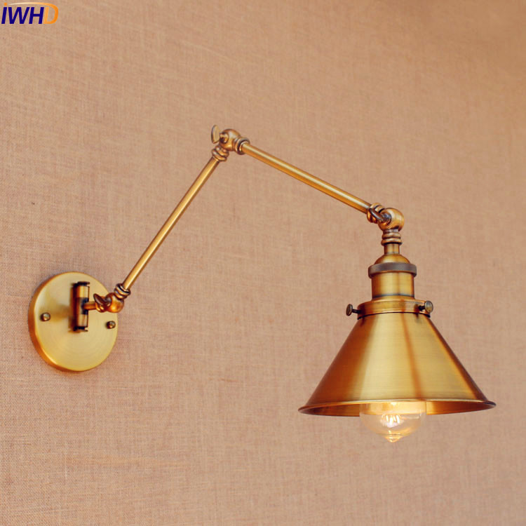 IWHD Loft Copper Swing Long Arm Wall Lamp Loft Industrial Vintage Wall Light Fixtures LED Edison Sconced Lamparas De Pared iwhd loft style creative retro wheels droplight edison industrial vintage pendant light fixtures iron led hanging lamp lighting