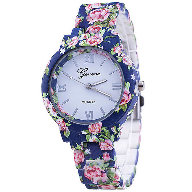 NEW Flowers Women Watch Geneva Platinum Printed Flower Plastic Band Analog Quartz Women Wristwatch Vintage Fashion Ladies Watch