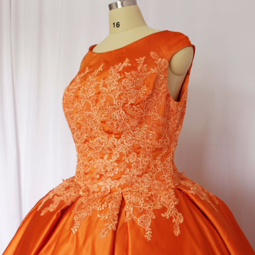 2018 mode Orange O Neck Applizierte spitze Sleeveless Gefaltetes ...