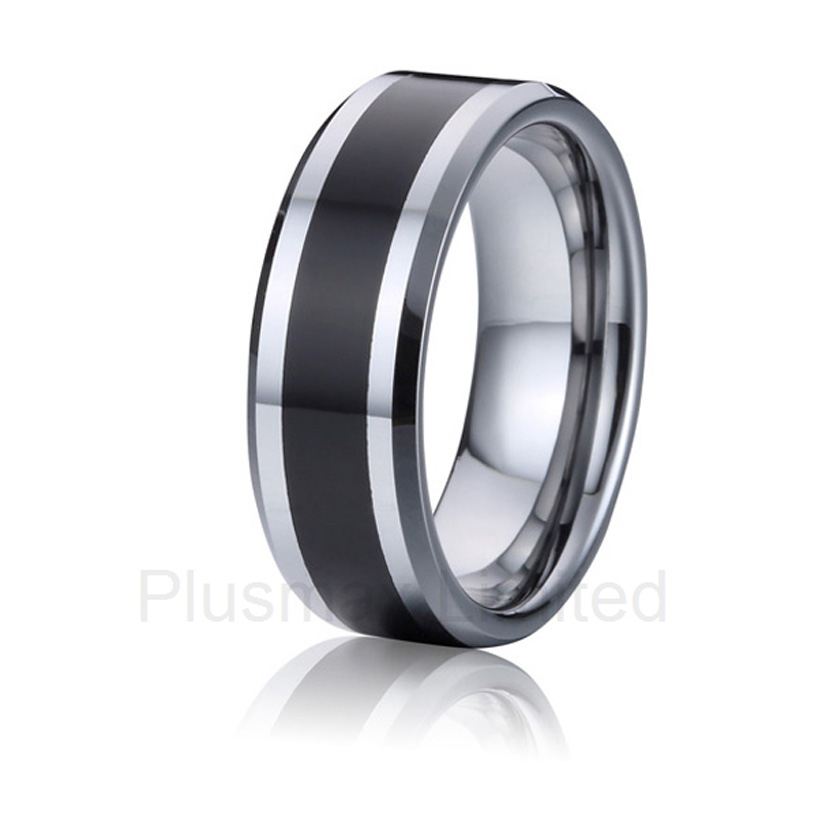 high quality OEM/ODM handsome style classic black 8mm wide titanium wedding band rings for men faq for oem odm