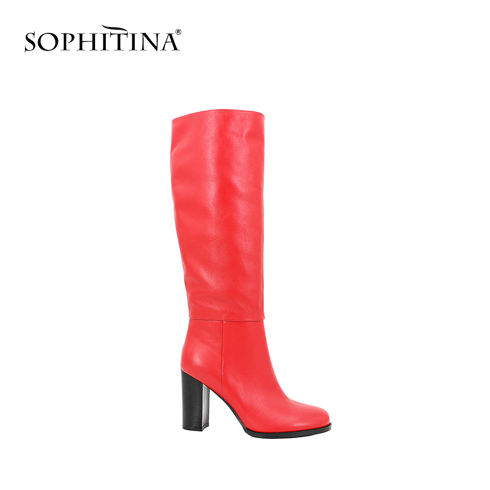 SOPHITINA Genuine Leather Knee-High Boots Super High Thick Heels Warm Short Plush Lady Shoes Solid Party Career Women Boots B53SOPHITINA Genuine Leather Knee-High Boots Super High Thick Heels Warm Short Plush Lady Shoes Solid Party Career Women Boots B53