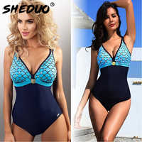 One-piece Swimwear for Women Mermaid Print Backless Swimsuit Monokini Sexy Bathing Suit Deep V Beach Swimming Suit New arrival