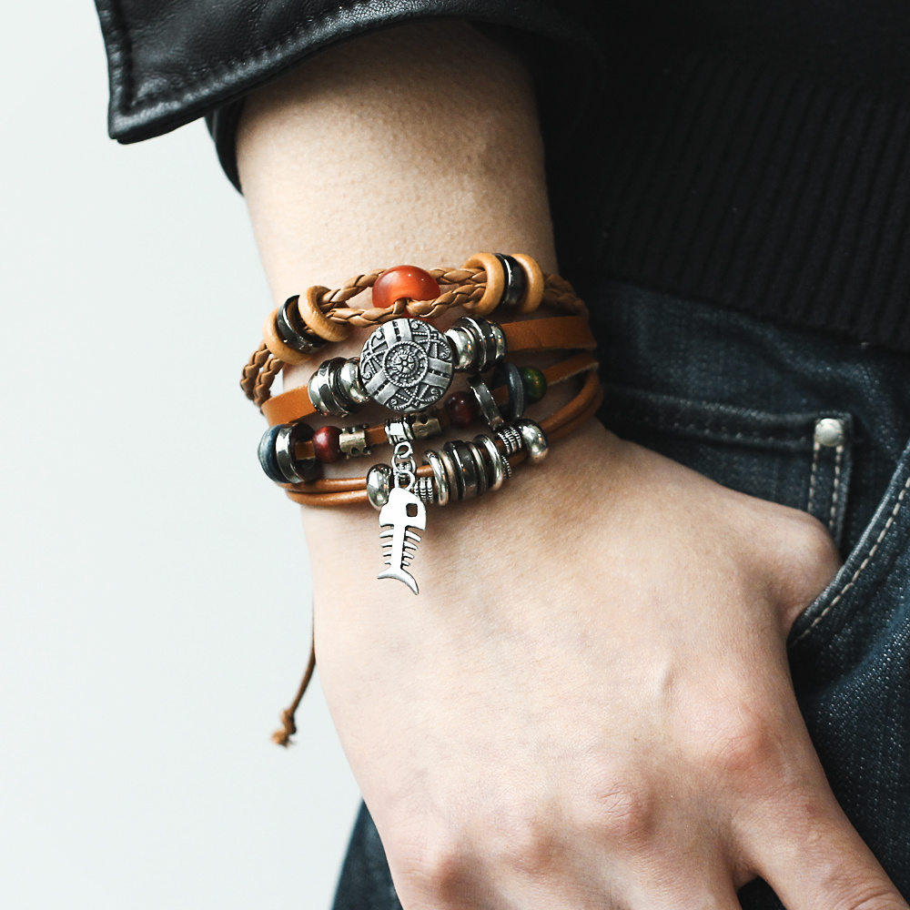 IF-ME-Vintage-Pendent-Fish-Leather-Bracelet-For-Men-Multiple-Layer-Beads-Braided-Bracelets-Fashion-Wristband (1)