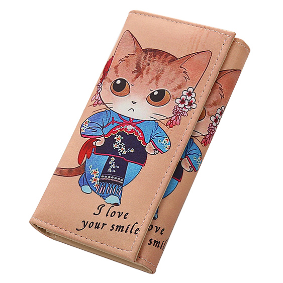 New Casual Women Purse Cat Cartoon Girl Long Wallet Card Holder Ladies 5.5 inch Phone Clutch PU Leather Coin Purse Zipper Pocket new baellerry pu leather women organizer long wallet bowknot money purse ladies coin phone clutch hand bag card holder pouch box