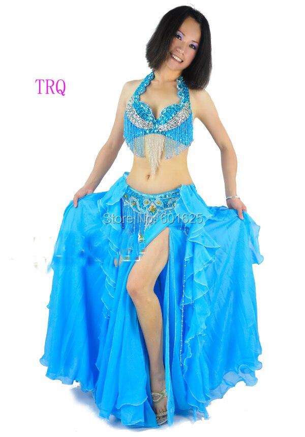 En gros nouveau costume de danse du ventre ensemble soutien-gorge + ceinture 2 pièce/ensemble 36B soutien-gorge 36 pouces ceinture 4 couleurs
