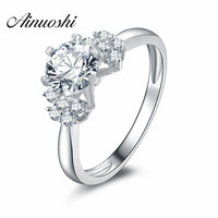 2016 New Fashion 1ct Folwer Heart Shaped Solitaire Engagement Ring 925 Sterling Silver Plain Sona Simulated