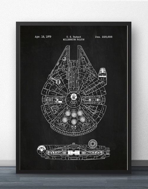 Star wars millennium falcon x wing blueprint wall art paint prints star wars millennium falcon x wing blueprint wall art paint prints canvas art poster oil malvernweather Images