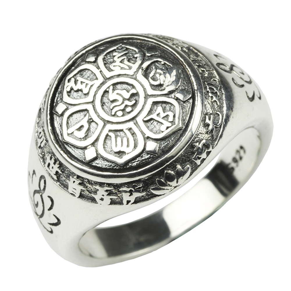 Authentic 925 Sterling Silver Jewelry Vintage Buddha Six Words Mantra Rings For Women And Men Bijouterie