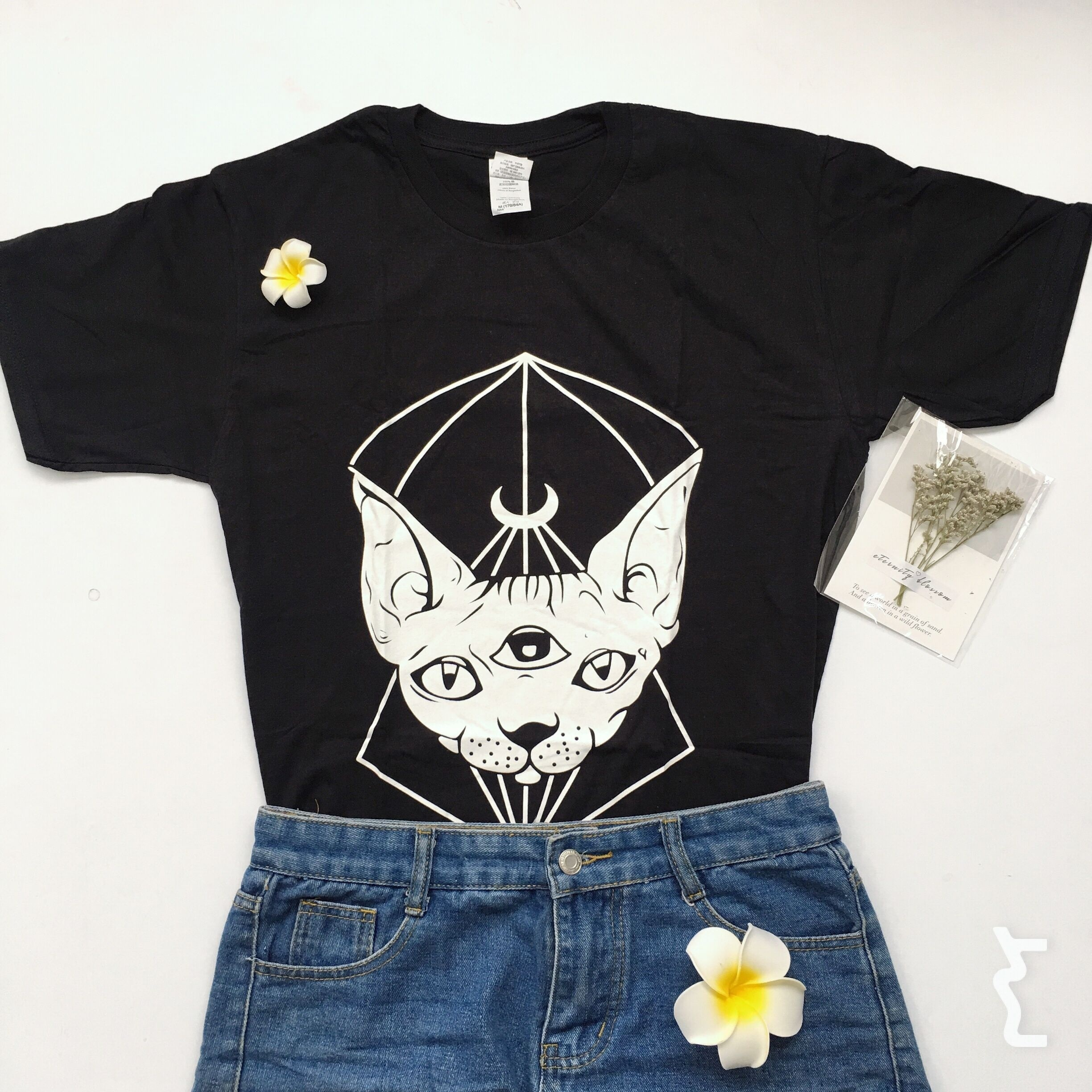e1538633 PUDO HJN Sphynx Cat Canada T shirts Cotton Tee Tops Short Sleeve Punk  Gothic Sphynx Cat Head Moon Printed-in T-Shirts from Women's Clothing on ...