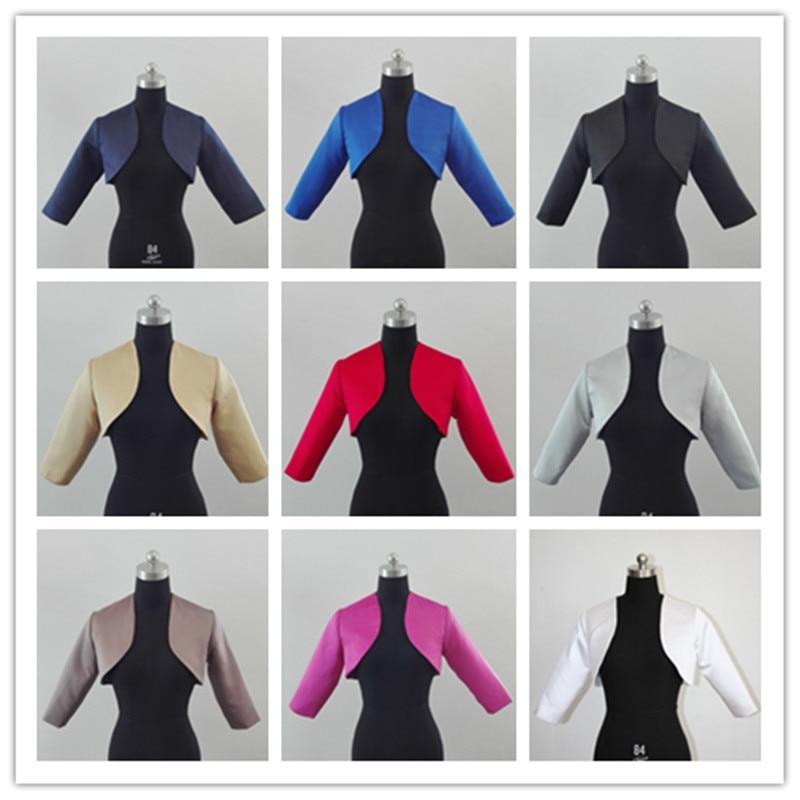 3/4 Sleeve White Ivory Shawl Bolero Wedding Jacket Bridal Shrug Wraps Custom Size satin