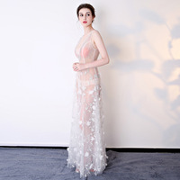 2017 Sexy Summer Dresses Off Shoulder Costumes Womens Embroidery Cosplay White Floral Evening Party Lace Formal Club Mesh Dress