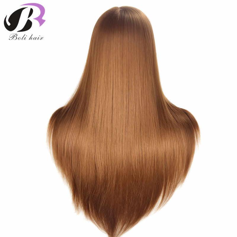 Pelo de 26 pulgadas de estilo profesional maniquí cabeza de pelo largo sintético peluquería muñeca de entrenamiento cabeza de maniquí femenino