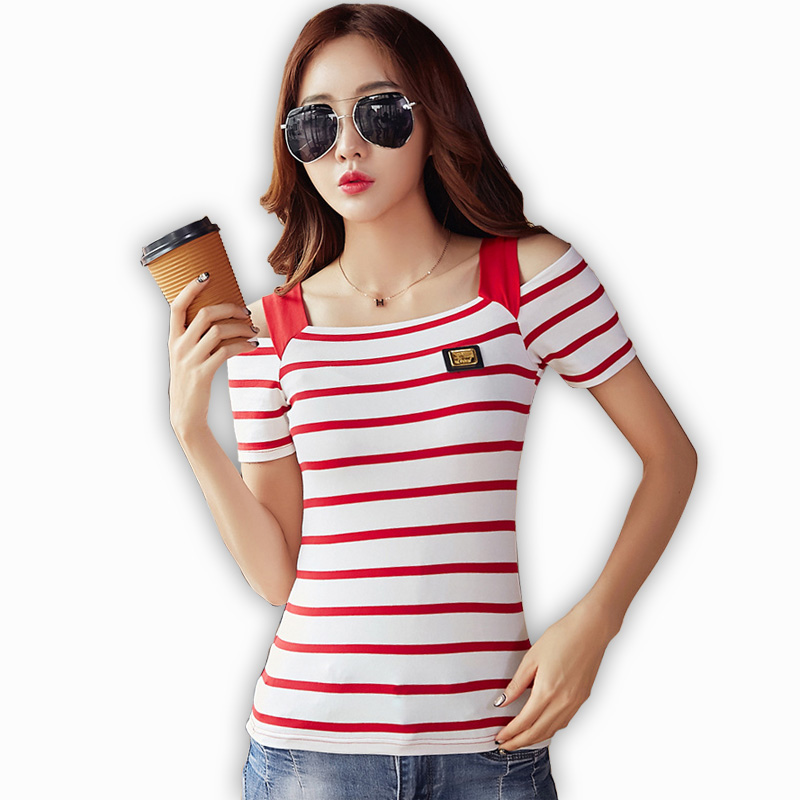 t shirt tee shirt femme summer tshirts women stripe off. Black Bedroom Furniture Sets. Home Design Ideas
