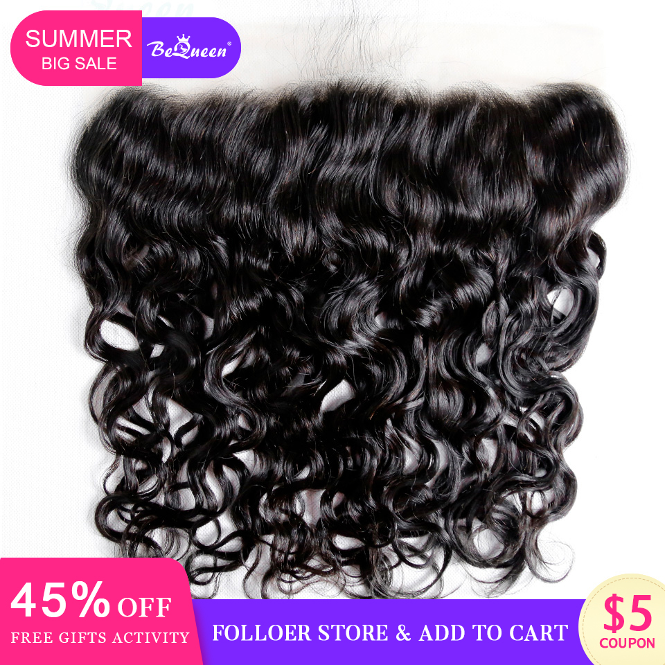 BeQueen 13 4 Lace Frontal With Baby Hair Transparent Lace Frontal Raw Virgin Brazilian Water Wave