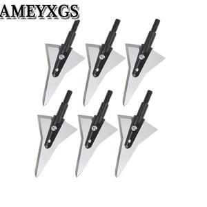 Image 1 - 6/12 piezas tiro con arco de grano 125 2 puntas de hoja fija afiladas puntas de flecha de caza tornillo para accesorios de práctica de disparo de flecha de arco