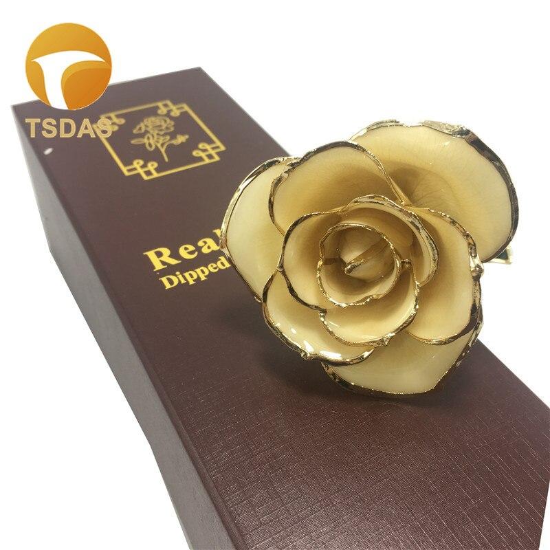 Livraison gratuite 1 pc 24 K or plongé Rose fleur vraie or Rose fleur avec boîte-cadeau cadeau d'anniversaire pour petite amie