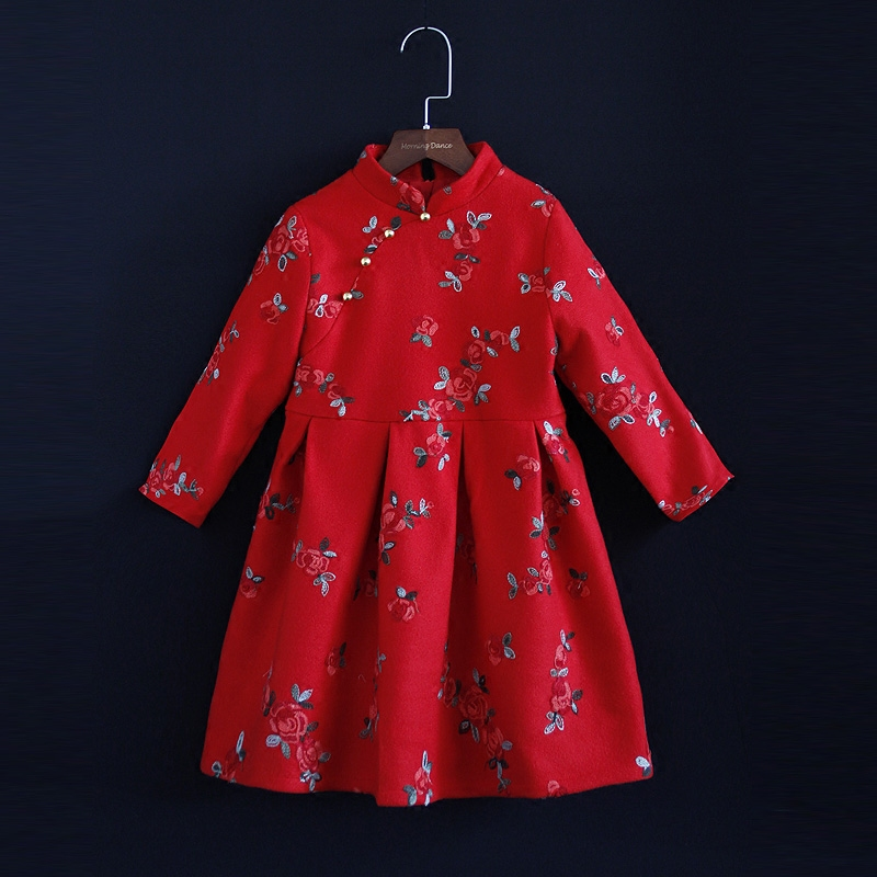 Winter children clothes warm woolen floral dress family look mom & kids girls cheongsam dress mother and daughter matching dress 2018 new classical cheongsam children clothes women girls family look matching clothing mother daughter mom