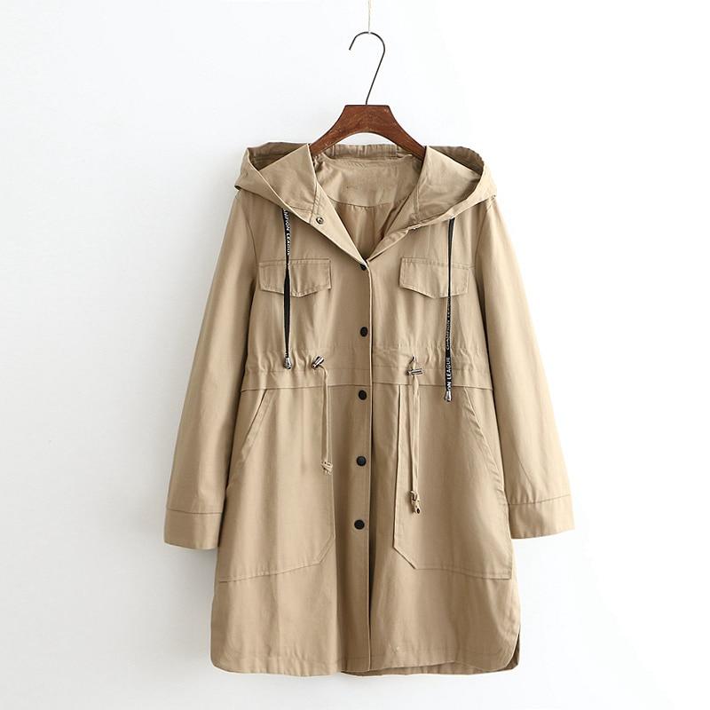 Plus size 3XL 4XL windbreaker coat women spring coats loose hooded outwear   trench   coat female casual pure cotton overcoat femme