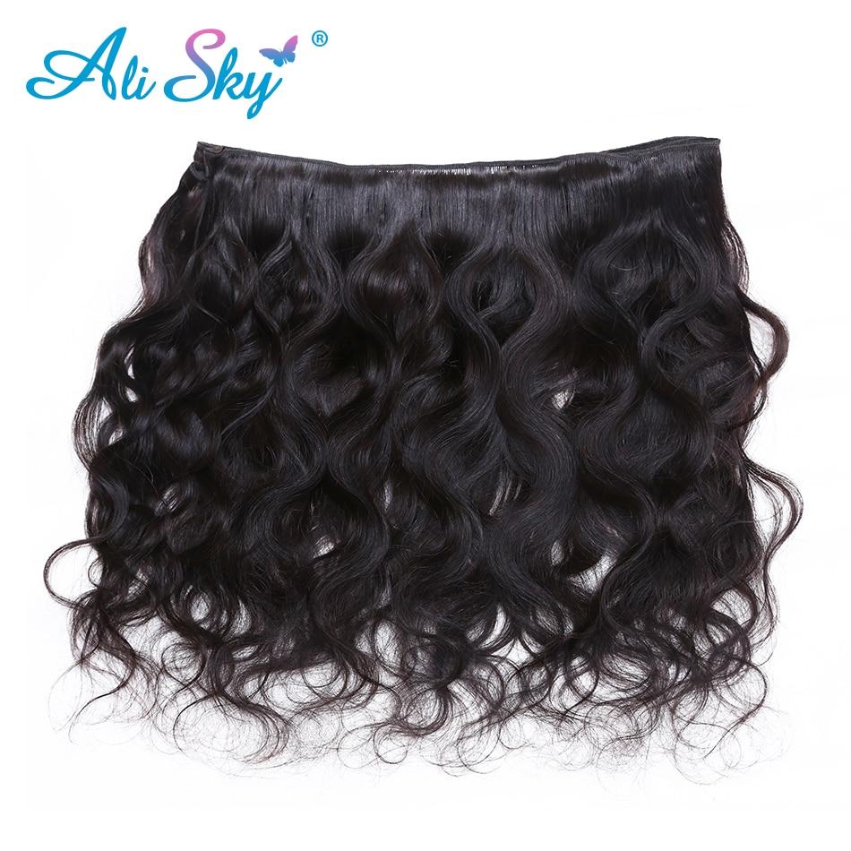 Malaysiska Body Wave 3 bundles hanterar 4x4 Top Lace Closure Free / - Mänskligt hår (svart) - Foto 5