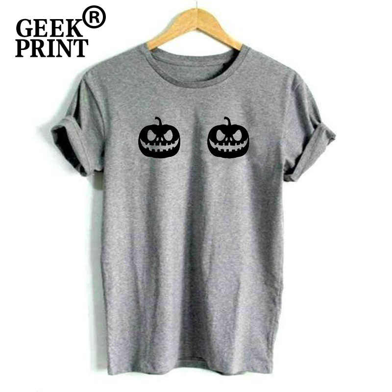 dc40ae124 ... Women Tops Pumpkin Boobs Print Tees Lady Halloween Dress Up Tshirts  Girl Costume funny Tumblr Boobies ...