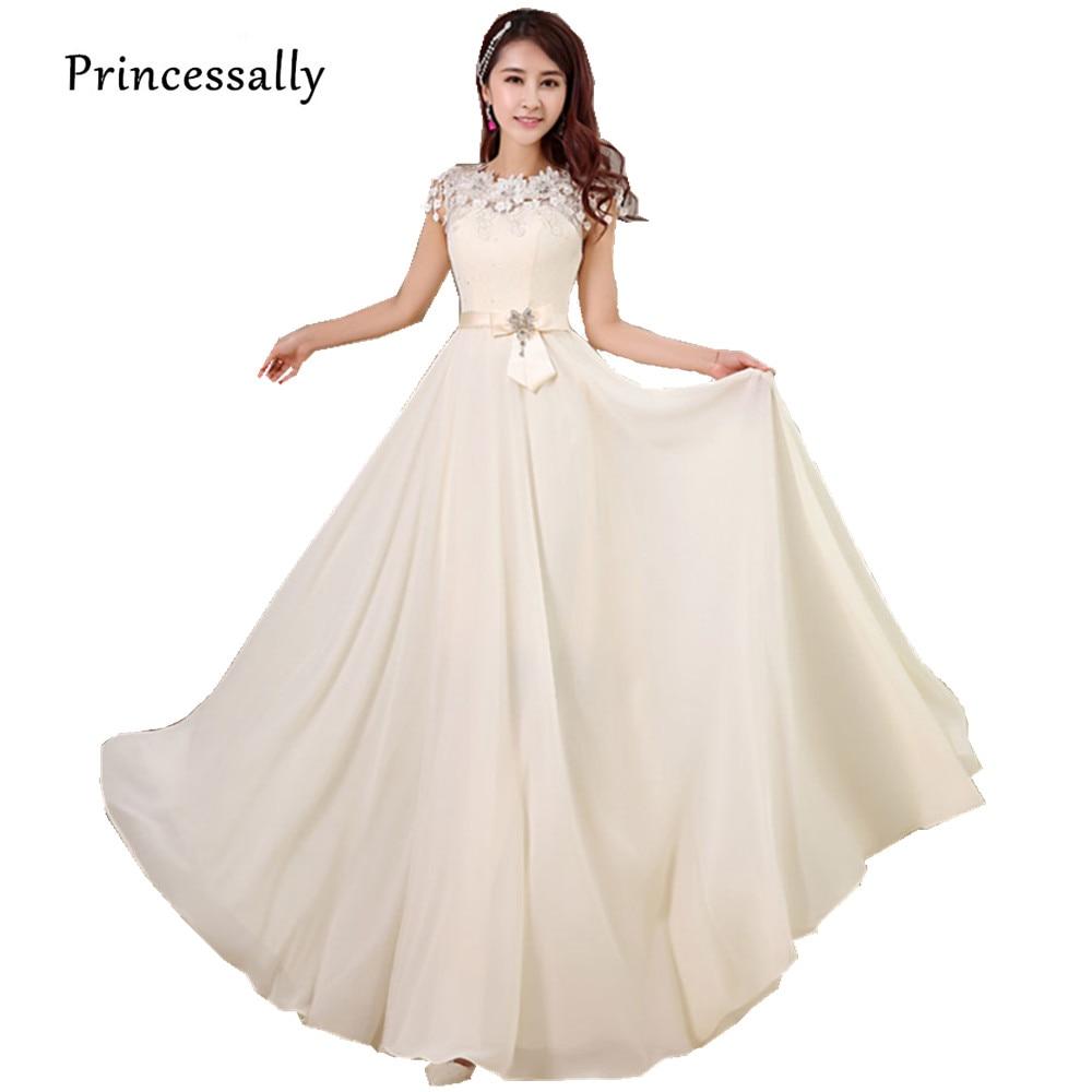 Buy long elegant bridesmaid dress chiffon for Short flowing wedding dresses