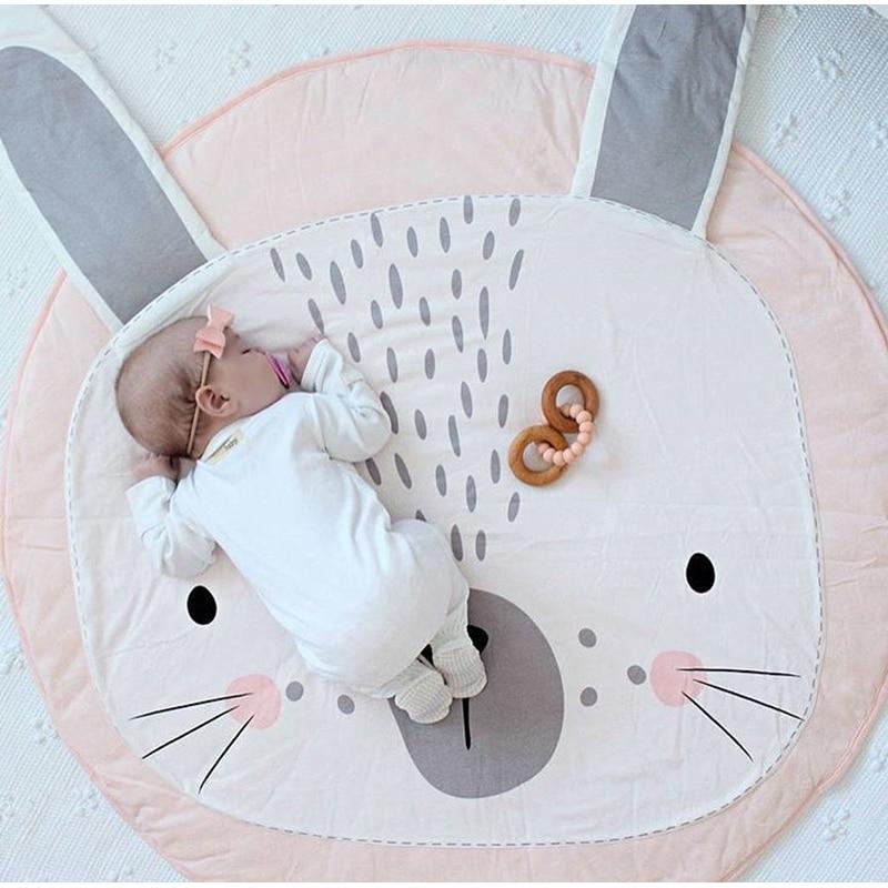 Kids Play Game Mats Cotton Rabbit Crawling Blanket Round Carpet Rug Mat Baby Bedding Stroller Blanket Children's Room Decoration